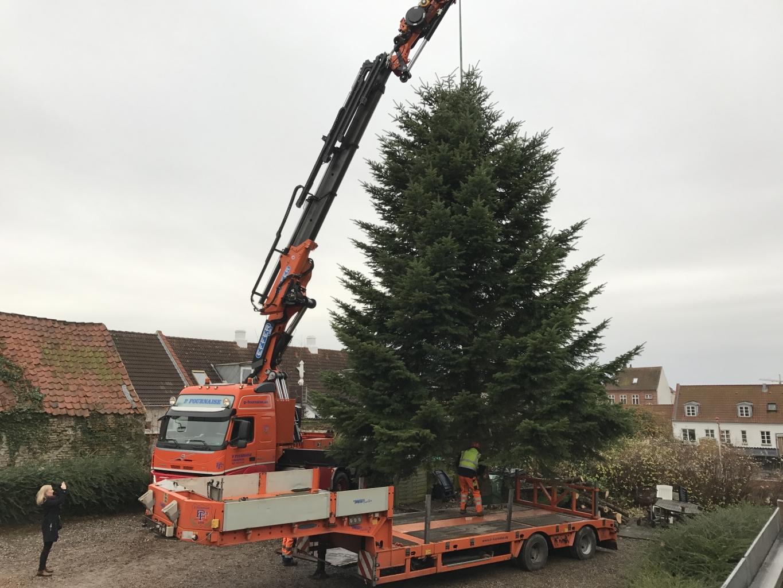Juletræet ankom fredag morgen til Rådhuspladsen