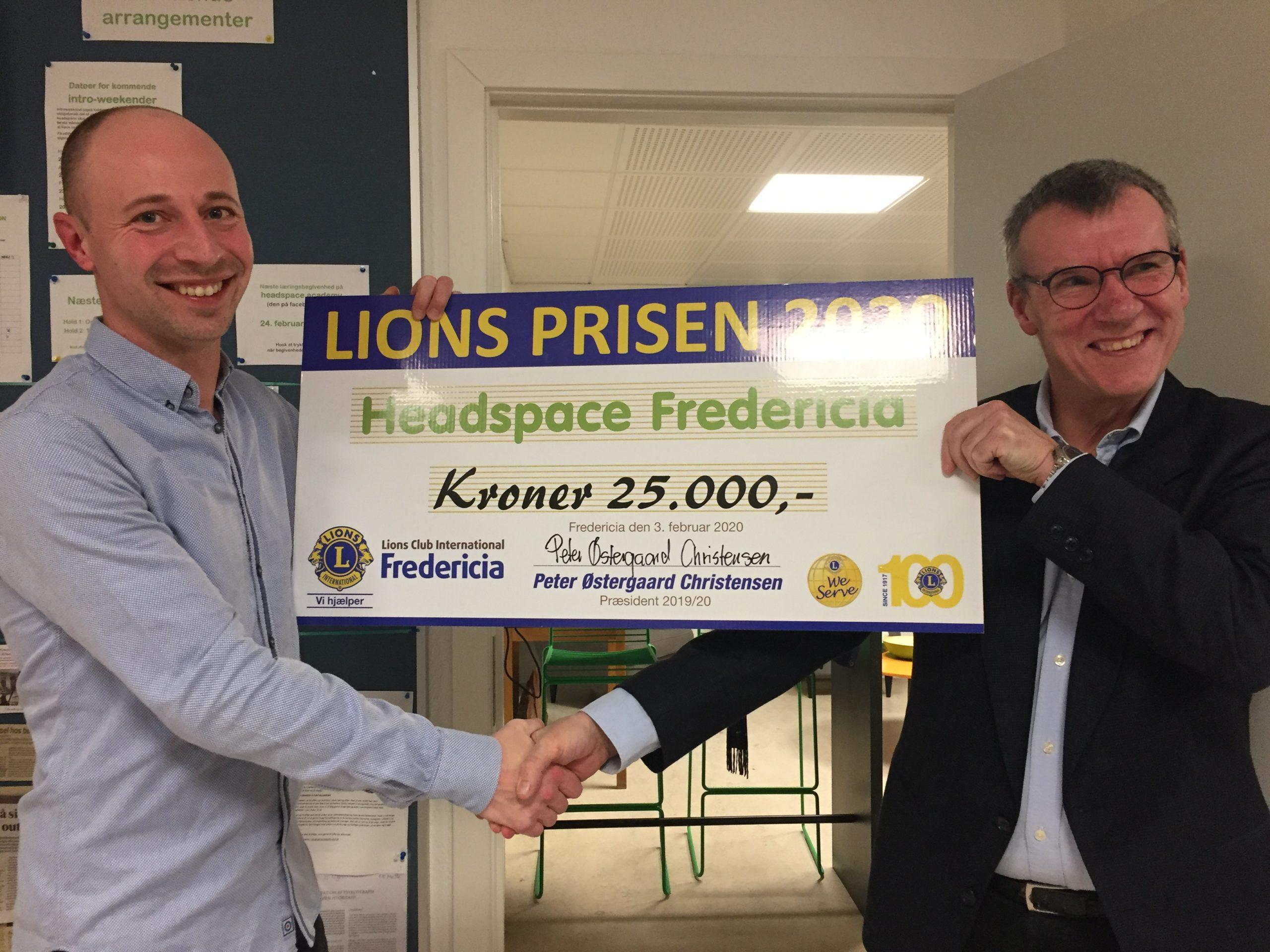Headspace fik pris – Lions havde en check på 25.000 kroner med