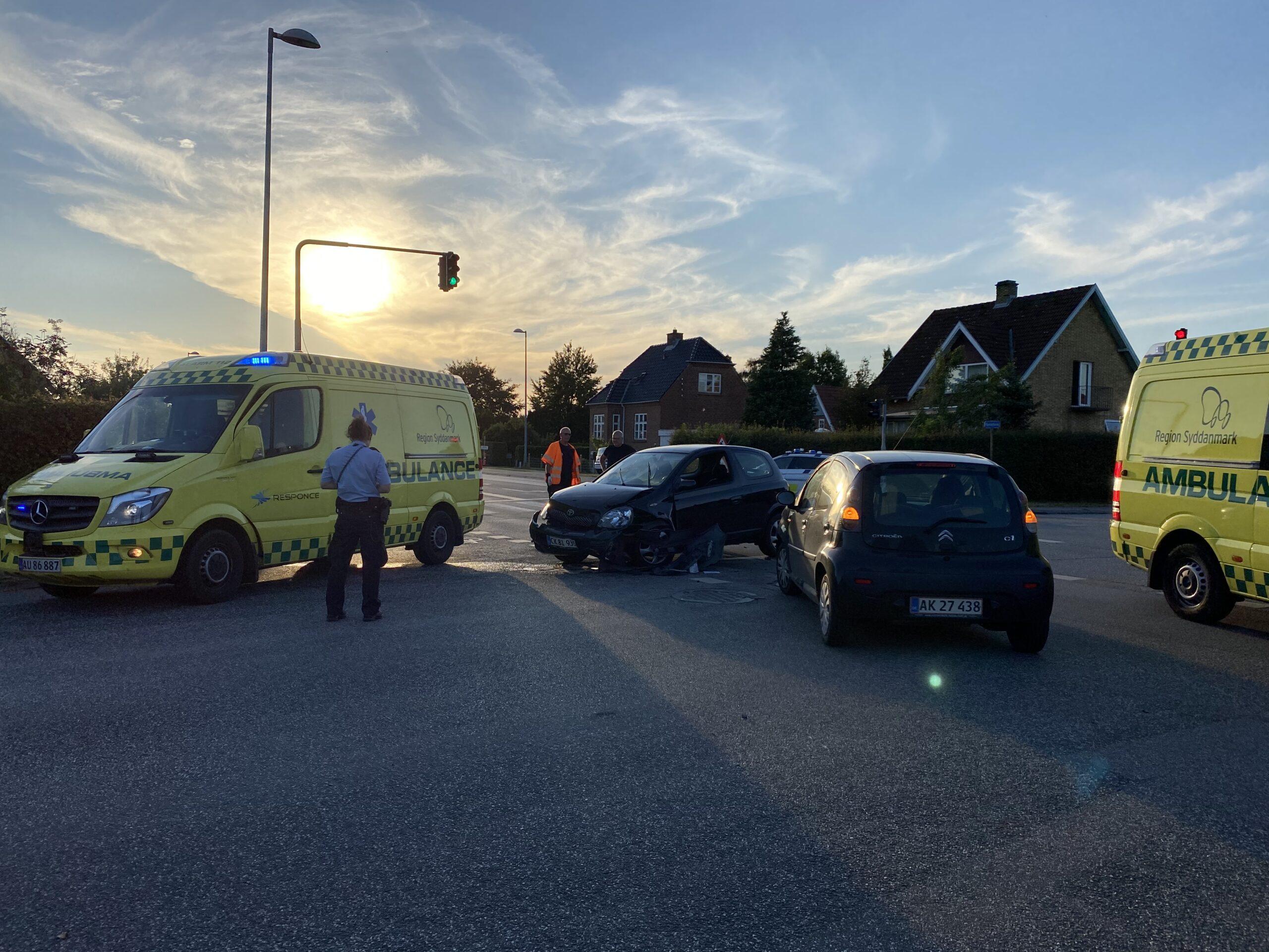 Færdselsuheld i lyskryds på Indre Ringvej